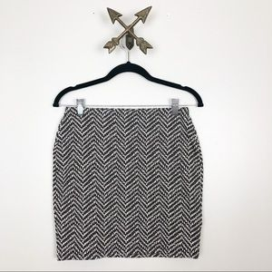 Old Navy Black and White Chevron Mini Pencil Skirt